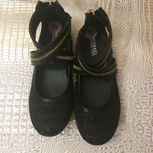 Michael Kors Ballet Flats Black with gold Zip